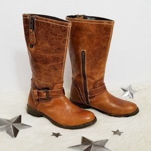 Bed Stu leather boots tall mid-calf saddle brown 8
